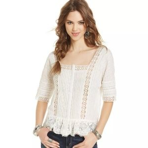 Free People Crochet Lace Top Snap Front Ivory